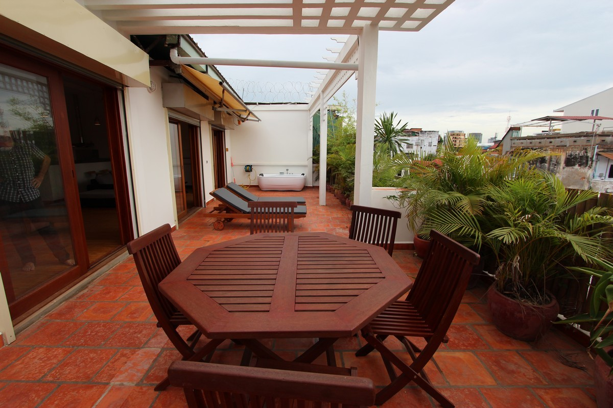 Large Terrace Colonial Apartment For Rent Near Riverside | Phnom Penh Real Estate